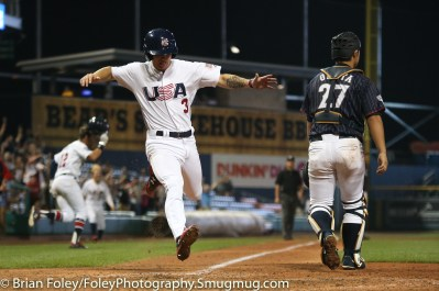 7/12/17, Dunkin Donuts Park Hartford, CT: USA Collegiate National Team infielder Cadyn Grenier (3) of Oregon State scores the winning run in the bottom of the ninth as the USA Collegiate Team picked up a walkoff 2-1 victory over the Japan Collegiate All-Star's at Dunkin Donuts Park in Hartford, Connecticut.