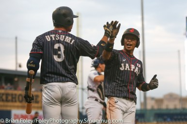 7/12/17, Dunkin Donuts Park Hartford, CT: Japan Collegiate All-Star Team Kairi Shimada (9) scores a first inning run during the USA Collegiate Team's 2-1 victory over the Japan Collegiate All-Star's at Dunkin Donuts Park in Hartford, Connecticut.