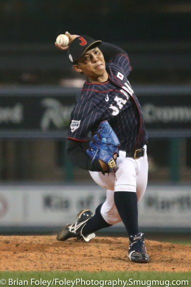 7/12/17, Dunkin Donuts Park Hartford, CT: Japan Collegiate All-Star Team Katsuki Azuma (21) throws a pitch during the USA Collegiate Team's 2-1 victory over the Japan Collegiate All-Star's at Dunkin Donuts Park in Hartford, Connecticut.