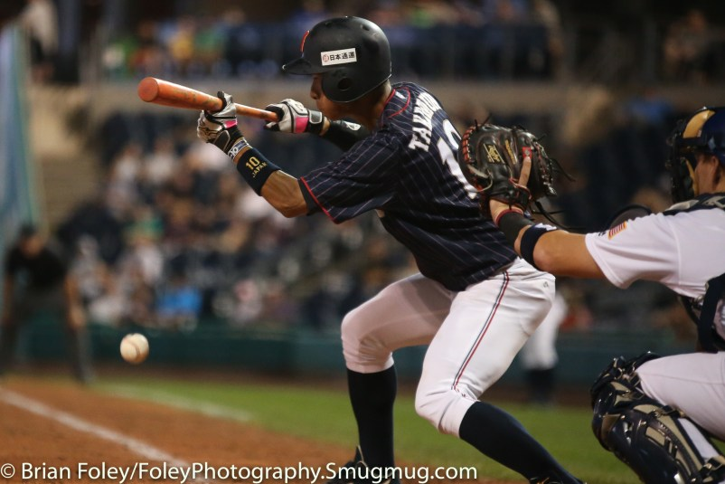 7/12/17, Dunkin Donuts Park Hartford, CT: Japan Collegiate All-Star Team Haruki Takemura (10) square to bunt during the USA Collegiate Team's 2-1 victory over the Japan Collegiate All-Star's at Dunkin Donuts Park in Hartford, Connecticut.