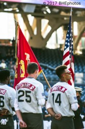 Carter Stewart and Lineras Torres Jr stand before the color guard for the national anthem 2017 Perfect Game All American Game - Photo By David Cohen, BHEphotos