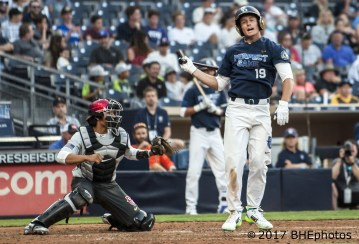Jarred Kelenic reacts to striking out to end the 2nd inning 2017 Perfect Game All American Game - Photo By David Cohen, BHEphotos