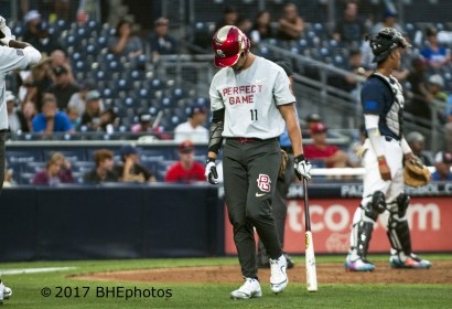 Will Banfield walks away dejected after striking out.. 2017 Perfect Game All American Game - Photo By David Cohen, BHEphotos