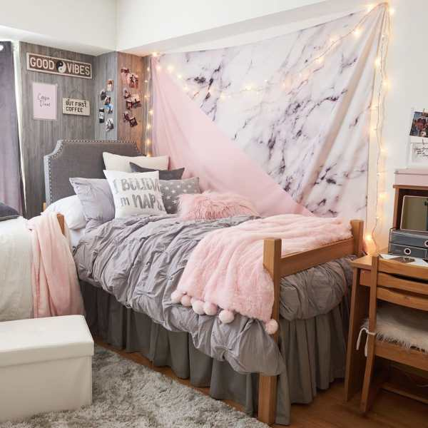 gray and pink twin girl bedroom ideas How to Choose a Dorm Color Scheme (Plus 15+ Examples!)