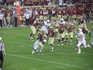 Tech's defense pressured Everett Golson in several critical passing situations.