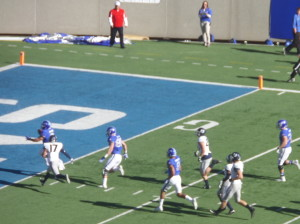 USAFA FB DJ Johnson crosses the goal line to start the game's scoring finishing his 31-yard TD run.