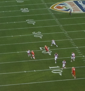Clemson QB Deshaun Watson (4) dashes 46 yards to midfield.