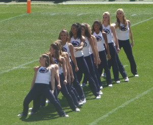 The PSU Dance Team was getting their work in during the spring game as well.