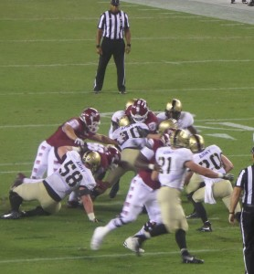 Army's defense truly impressed us this evening. The stop here is made by LB Hayden Haupt (30).