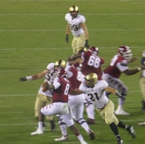 Army LB Alex Aukerman was among the Army defenders who applied the pressure on QB PJ Walker most of the evening.