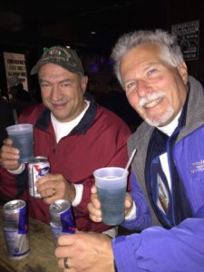 "PBR and ""Irish Trash Cans"" for us Old Schoolers (me and John) at the Phyrst."