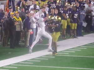 Pass breakup by Irish late in the game.