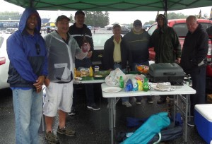 Our undercover tailgate kept us dry and well fed before we sat in teh rain inside Navy-Marine Corps.