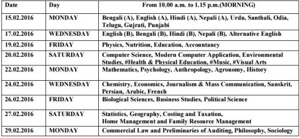 WB HS Time Table