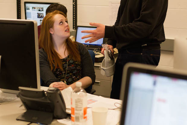 Jacquin speaks with managing editor Grant Myatt in The DePaulia newsroom.