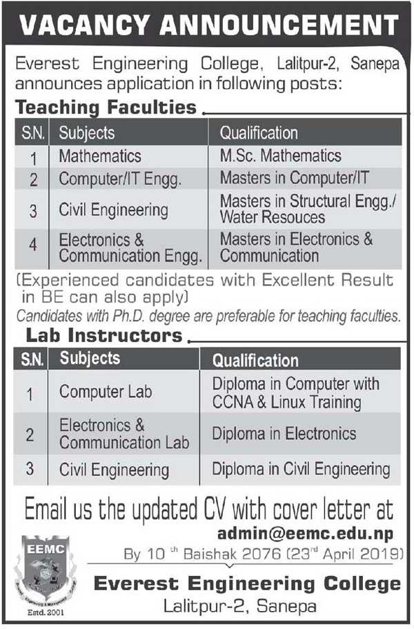 Everest Engineering College Vacancy  Collegenp