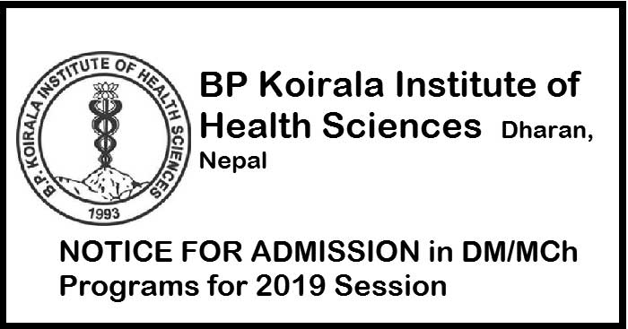Admission in DM / MCh Programs for 2019 Session at BPKIHS