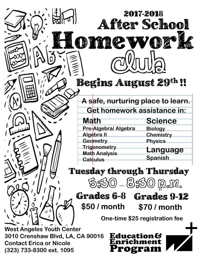 Homework Club Registration is Open at West Angeles Church