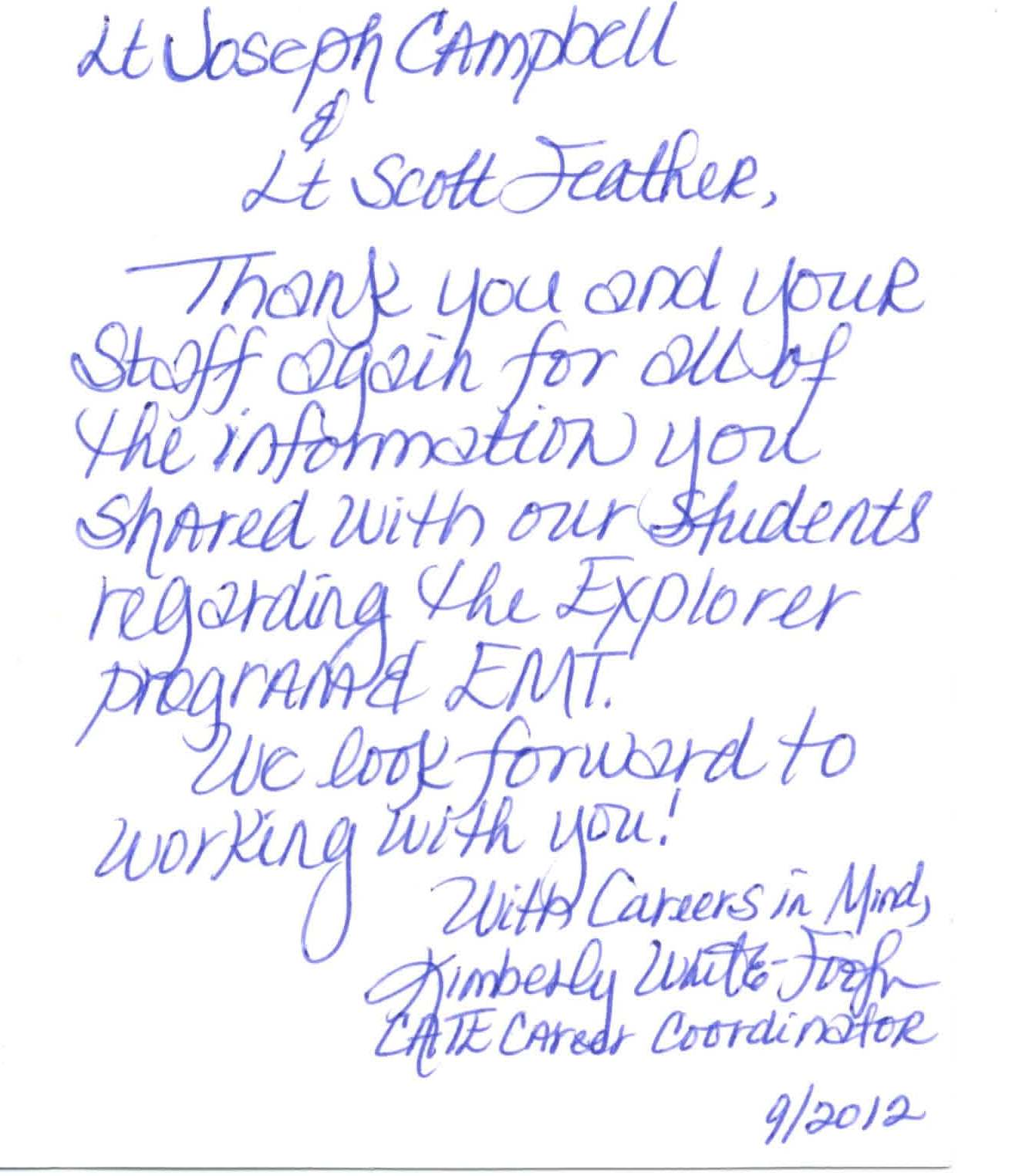 Card From Mrs. Kimberly White-Footman, Career And Technical Education (Cate)