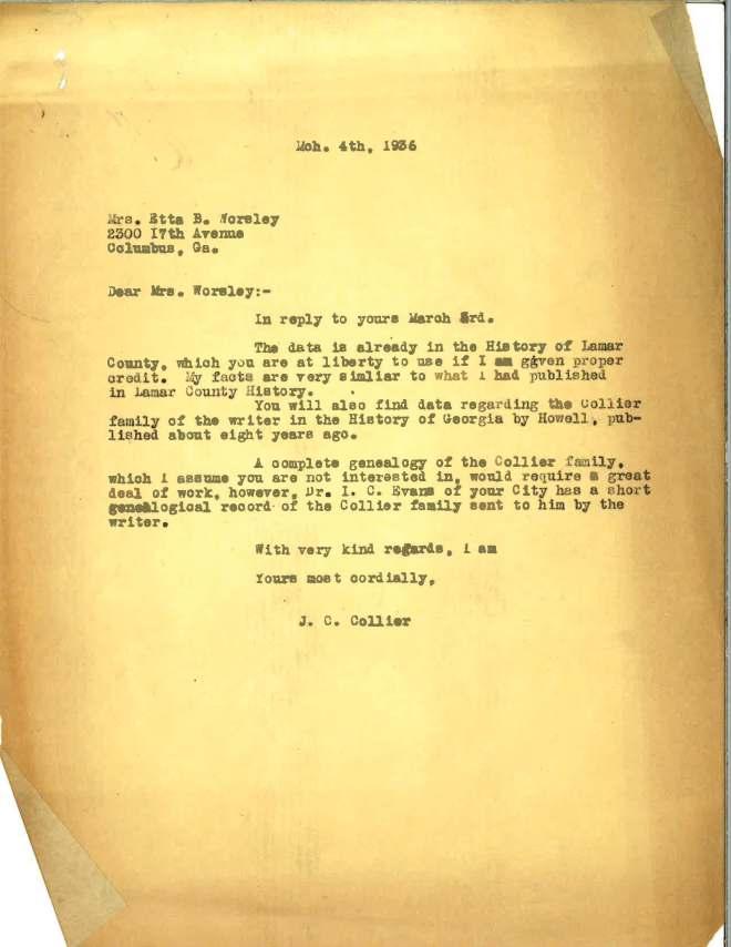 1936_03_04 Ltr JCC to E B Worsley
