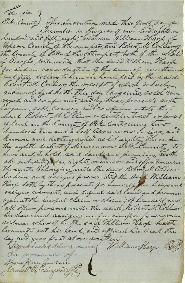 1858_12_01_Deed 202 acres from William Harp ro RMC_Page_1