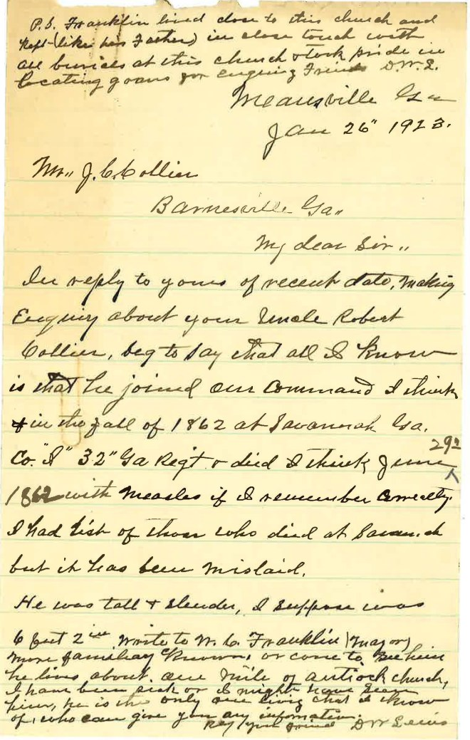 1923_01_26_Ltr D W Lewis to JCC re Robert Thomas Collier CSA_Page_1