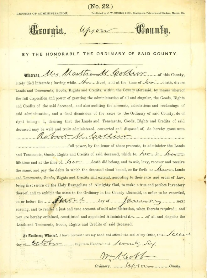 1876_10_02_Ltr of Adminsitration RMC for Martha Collier Estate