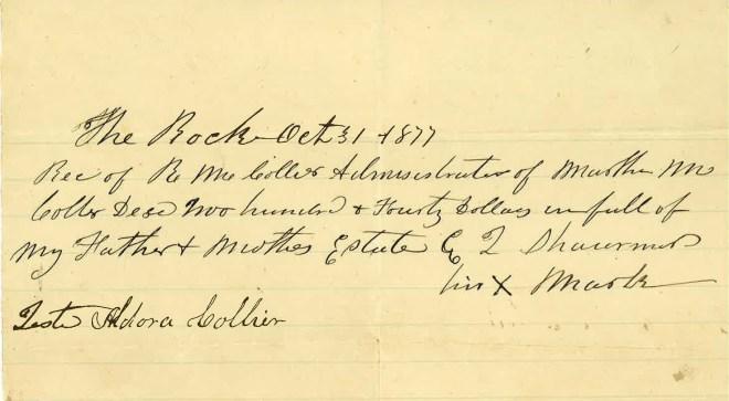1877_10_31_Martha M Collier Estate to Edith Louisa Sharman