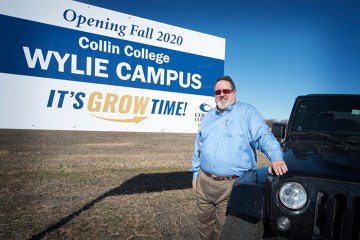Dr. H. Neil Matkin at the construction site for the future Collin College Wylie Campus