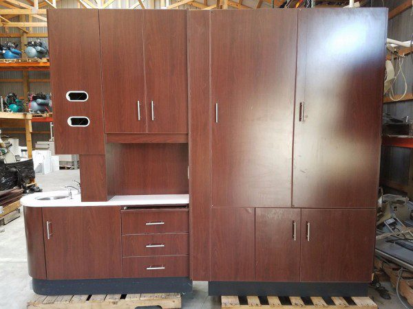 swing chair local kitchen table sets with rolling chairs center island pass through dental cabinet w/solid surface top tapmaster and lead lining - $4300 ...