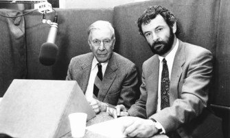 Author Colm Keane with Professor John Kenneth Galbraith while recording a paper for the book, The Jobs Crisis