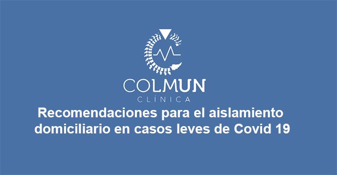 INFORMACIÓN DE SERVICIO: Recomendaciones para aislamiento domiciliario por Covid 19