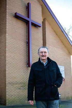 Michael Ramplin outside church