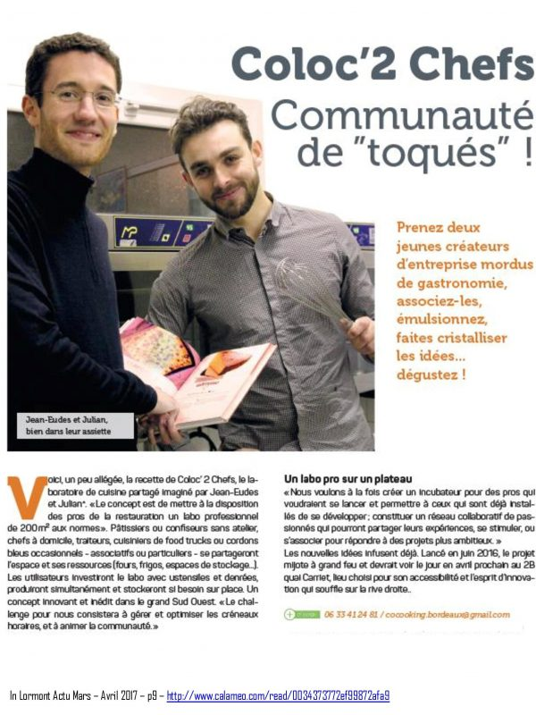 Revue de presse Coloc' 2 Chefs