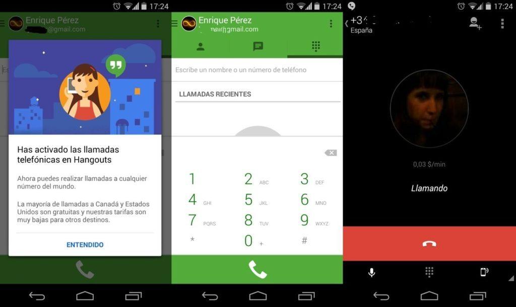 hangouts dialer 1024x610 Ya podemos hacer llamadas de voz en Hangouts con el nuevo servicio Hangouts Dialer