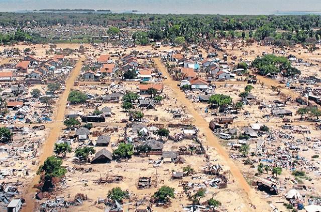 File photo of aerial view of former battlefront in Vavuniya