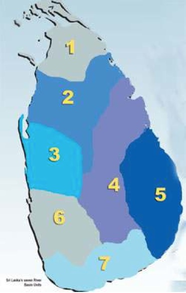 Seven River Basins: 1. Yalpanam 2. Raja Rata 3. Dambadeni  4. Mahaveli  5. Deegavaapi  6. Kelani    7. Ruhunu (Compare this map with the nine-province map which cuts all major rivers into artificial pieces).
