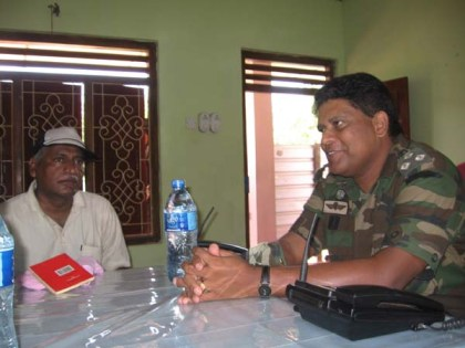 """Reddy with Major-General Shavindra Silva of the 58th Brigade at the SL Army base camp at Kilinochchi on 13th May when Reddy and Prasad were given a briefing and where the General """"asked us what we needed for reporting purposes"""" (email from Reddy to Roberts, 28 Dec. 2013)"""