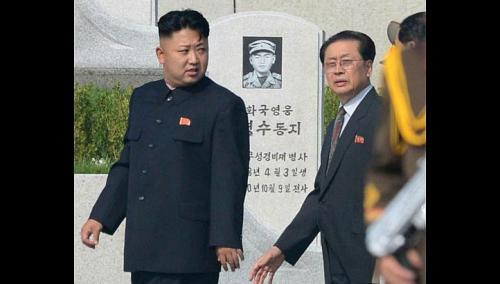 North Korean leader Kim Jong Un (left) with Jang Song Thaek, who was the vice-chairman of the National Defence Commission, at a cemetery for Korean War veterans in Pyongyang in July. Photo courtesy AP
