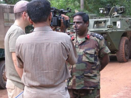 Nessman interviwing officer Udawatta -Pic bt Prasad, c 27 January 2009