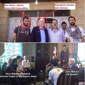 These pictures, authenticity yet to be known, showing IS Chief Abu Bakr al-Baghdadi and his team with US Senator John McCain has been in circulation in e mails