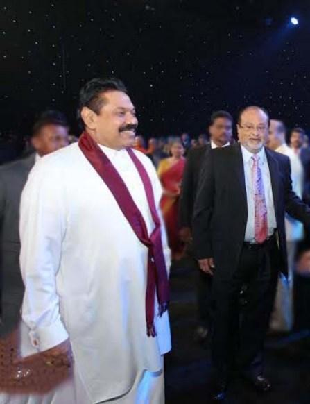 MTV/Sirasa owner Raja Mahendran with Mahinda Rajapaksa