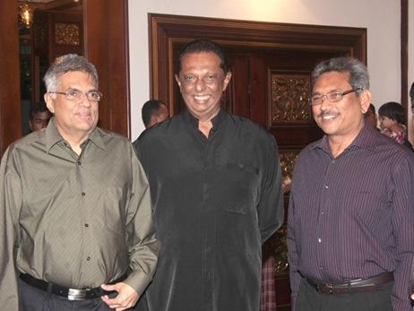 PM Ranil Wickramasinghe,Minister of Public Order John Amaratunga and former Defence Secretary Gotabaya Rajapaksa   File photo