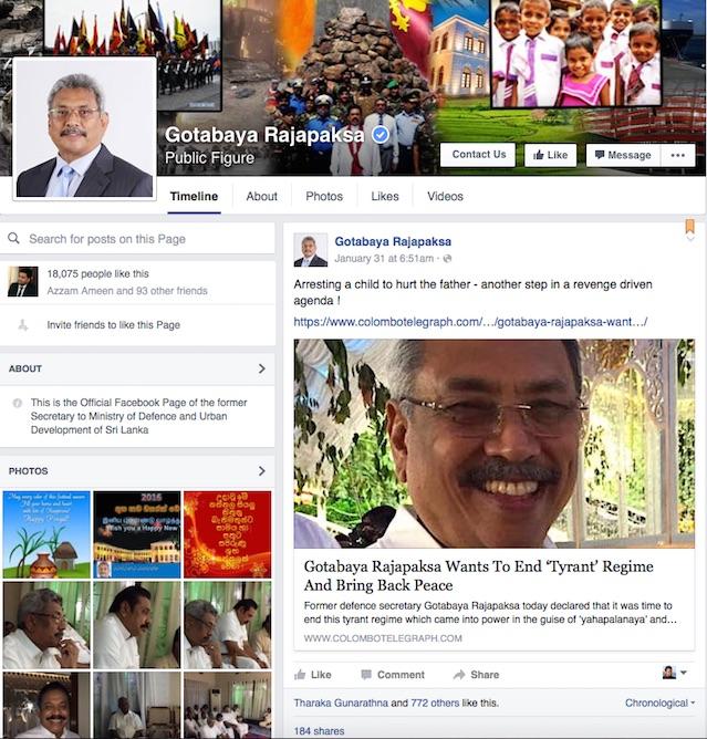 Gotabaya sharing Colombo Telegraph post