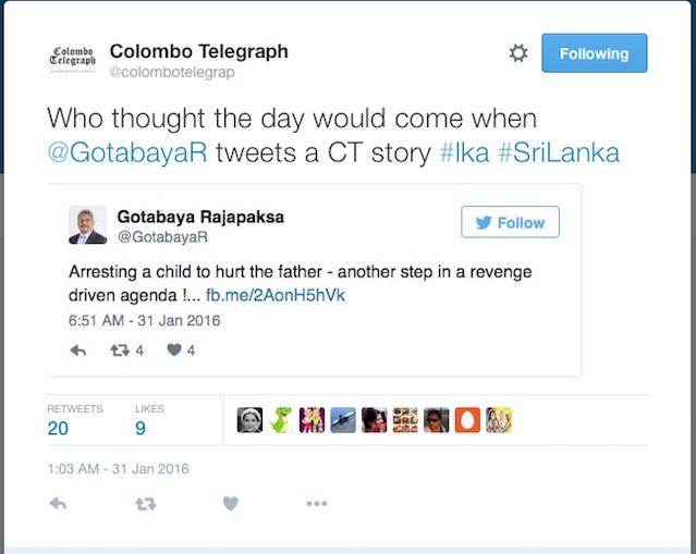 Gotobaya tweeted Colombo Telegraph story