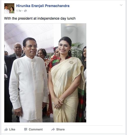 Hirunika with Maithripala