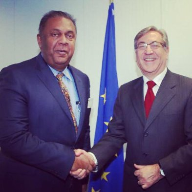 Foreign Minister Mangala Samaraweera meeting EU Commissioner for Maritime Affairs and Fisheries on 28th January 2015 in Brussels