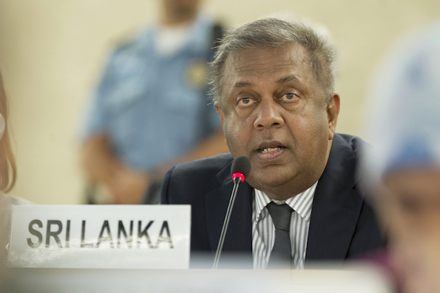 Mangala Samaraweera, Minister of Foreign Affairs of Sri Lanka ( Concerned Country ) during of the 32nd session of the Human Right Council. 29 June 2016. UN Photo / Jean-Marc Ferré