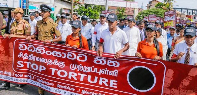 President Maithripala Participates In Anti-Torture Demonstrations