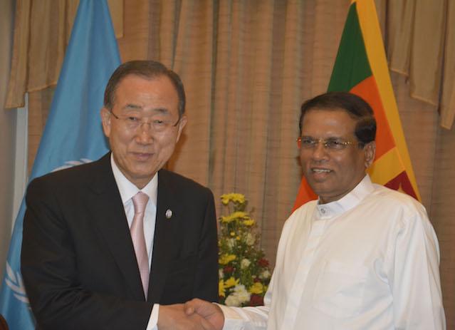 UN Secretary General Ban Ki-moon calls on President Maithripala Sirisena
